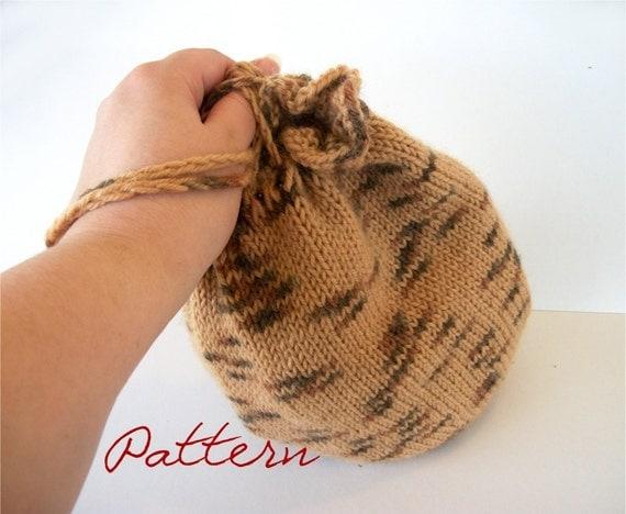 Bag Knitting Patterns In The Round : Knitting Pattern PDF: Round Knitted Drawstring Bag Wristlet