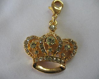 Crown Tiara Charm with lobster clasp clip on zipper pull