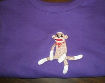 On Sale Sock Monkey 4T Sweatshirt  Embroidered Purple Long Sleeve Gift Idea for Children