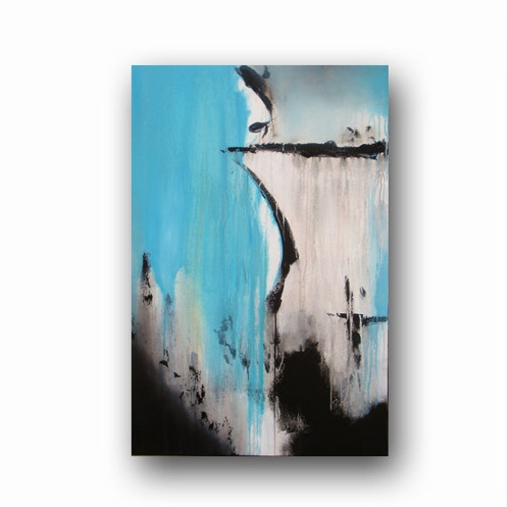 Original painting on canvas light blue painting abstract for Minimalist wall painting