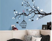 black and white tree branch decal with birds - vinyl Wall Art