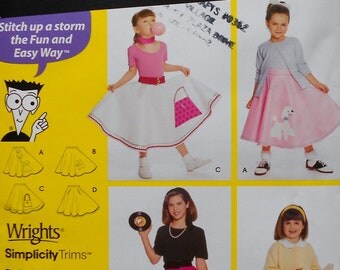 Simplicity Costumes Uncut Sewing Pattern 0665 GIRLS' CIRCLE SKIRTS Kids Child Girl Halloween Costume - Poodle Skirts 50's