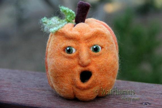 "Jack O Lantern Needle Felted Wool Pumpkin Face 5"" Orange Fall Felt with a Face Halloween Thanksgiving OOAK"