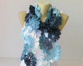 Crochet scarf , long , blue scarf, woman scarf, gift