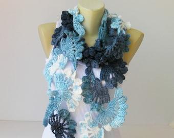 Crochet scarf , long , blue scarf, woman scarf, gift