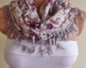 LACE scarf with lace edge stylish scarf shawl gift for her christmas gift bridal pink lilac