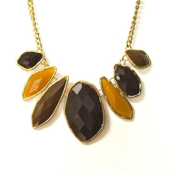 Bib necklace - brown, black, and mustard yellow