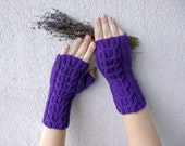 Hand - knitted Cabled Fingerless Gloves/ Wrist Warmers -  Violet
