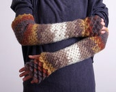 Fingerless Gloves Extra long Arm warmers Crocheted mittens Winter gloves Handmade Gift for her - brown, white, mustard, cinnamon brown