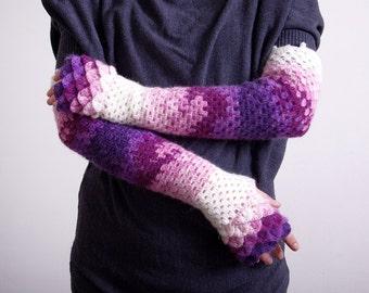 Fingerless gloves knit womens gloves Long Fingerless Gloves Crocheted mittens - violet burgundy pink white Arm warmers Hand warmers