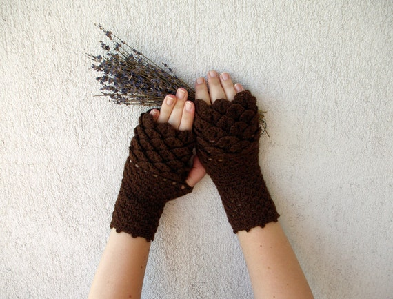 Women Fingerless gloves, crochet crocodile stitch mittens, cute arm warmers, brown, autumn accessory.