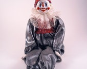 Clown Doll with Porcelain Hands, feet, and face Red Black White
