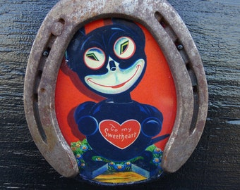 Vintage Black Cat Rustic Vintage Horseshoe Frame Lucky for your LOVE To My Sweetheart