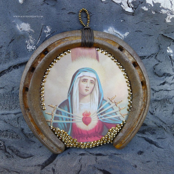 Horseshoe Art Wall Decor Virgin Mary Sacred Heart of the Seven Sorrows Blessed Mother 9