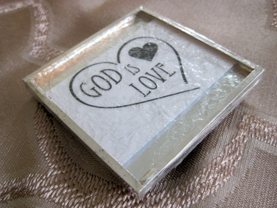 """Glass and Mirror Refrigerator Magnet """"God Is Love"""" Christian Inspirational Quote"""