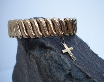 Vintage Gold Expansion Bracelet with 10kt Cross Victorian Revival