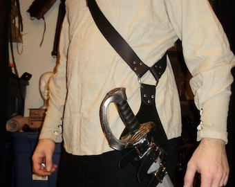 Pirate leather baldric for latex sword (scabbard that can hold saber sword)