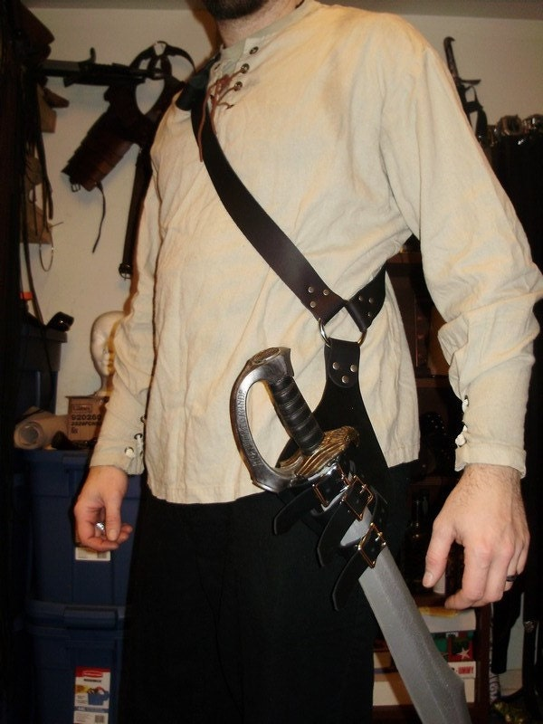 Pirate Leather Baldric For Latex Sword Scabbard That Can Hold