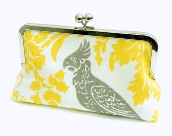 Clutch purse Yellow, white and grey bird - Silver frame party / wedding bag