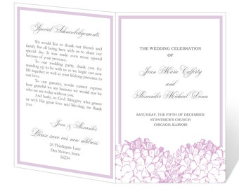 Wedding Program Template Printable - INSTANT DOWNLOAD - Hydrangea
