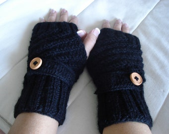 1pair Knitted button flap fingerless gloves mittens wrist warmers you can choose your color and with thumb or without thumb