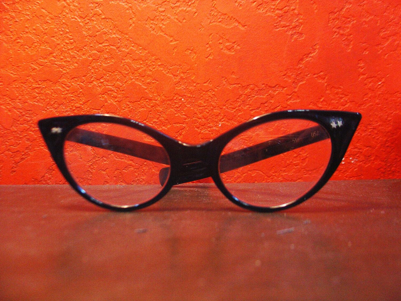 Vintage 50s 60s Black Cat Eye Glasses Frames Sunglasses