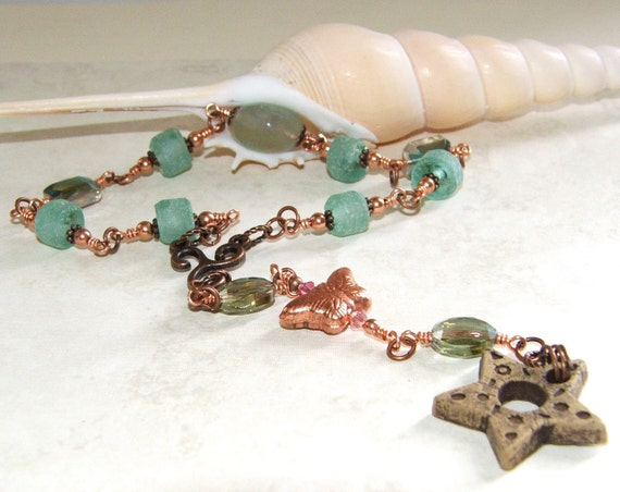 Sea Glass and Pottery Prayer & Meditation Beads / Dreams, Change, Transformation