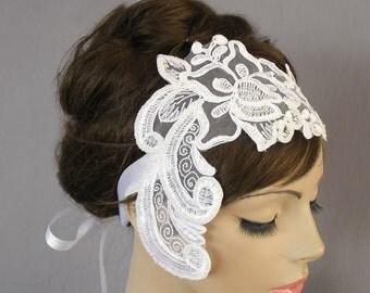 Lace Bridal Headband, Ribbon Fascinator. White. Handmade.