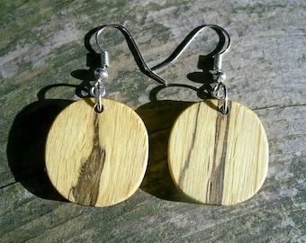 WOODEN EARRINGS - Spalted Oak Wood Handcrafted Wooden Earrings