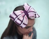 Big Hair Bow on Headband, Knitted Head Band, Knit Bow Tie by Solandia, purple violet, Hair Accessories, Winter Fashion