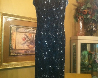 A Beautiful Adriane Papel Fully Beaded Sequin Gown in Black and Silver