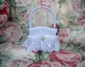 Flower Girl Basket ..  White Flower Girl Basket ..  Classic Wedding Accessories