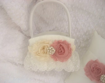 Flower Girl Basket Shabby Chic Vintage Ivory and Rose Custom Colors Wedding Basket
