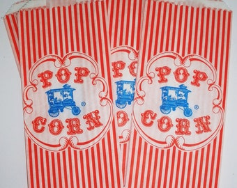 25 Vintage Style Popcorn Bags...Retro....Wagon..Circus Carnival...Movie Night....Ball Games...Birthdays...Favor Bags