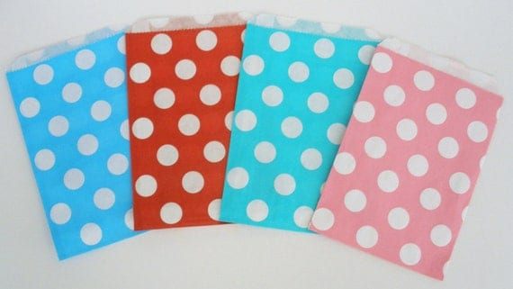 Party Favor Bags, 20 Ct...Pick Your COLOR(S) & DESIGNS...Chevron Stripe Bags Polka Dot Bags Favor Bags..Wedding Favor Bags, Candy Buffet
