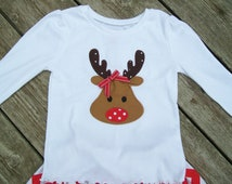 Girl's Toddlers Reindeer Face Shirt  - Personalized