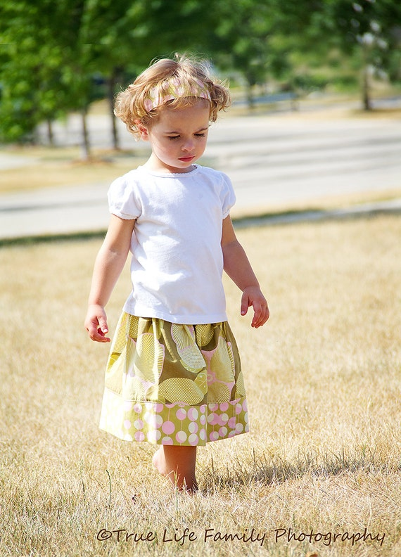 Girl's Twirl Skirt - Amy Butler Green and Pink Blossoms