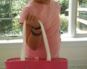 Handmade pink personalized gymnastics tote bag