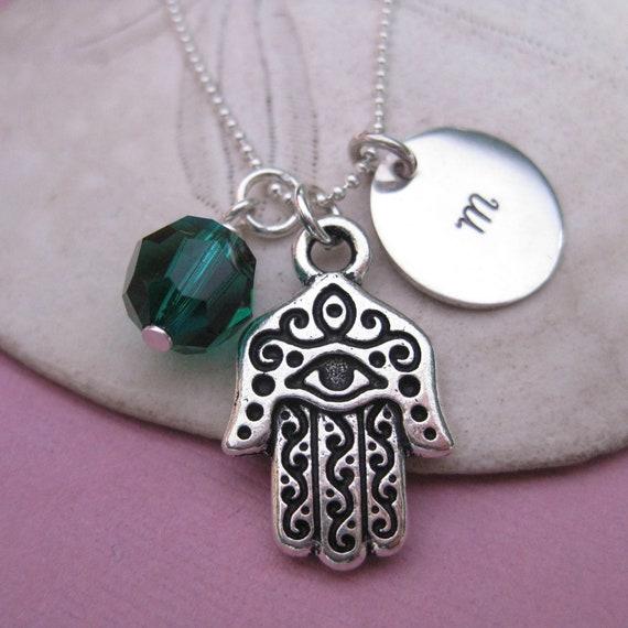 Hamsa Necklace - Hamsa Hand Jewelry - Hamsa Charm Necklace - Monogram Necklace - Birthstone Necklace