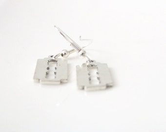 Edge. Punk Rock Razor Blades Earrings. Silver Razor Earrings. Silver Earrings. Dangly Earrings. Edgy. Goth. Cool Jewelry