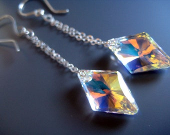 Swarovski Rhombus Crystal AB earrings. Sparkly and dynamic. Sterling and Argentium Sterling. Sterling silver chain. Contemporary. Modern