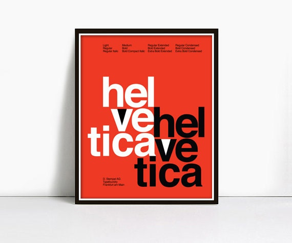 20x30 Inch Gicleè Suisse Swiss Helvetica Type Specimen Poster