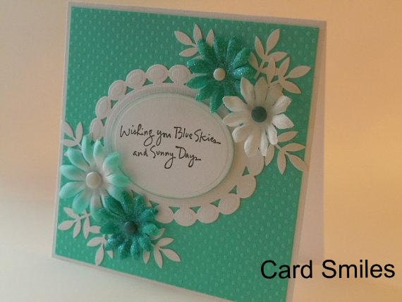 Handmade All Occasion Card can be get well birthday friendship etc. in aqua