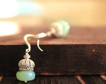 Blue Peruvian Opal Earrings, Bridal Earrings, Statement Earrings, Caribbean Blue Bridal Earrings