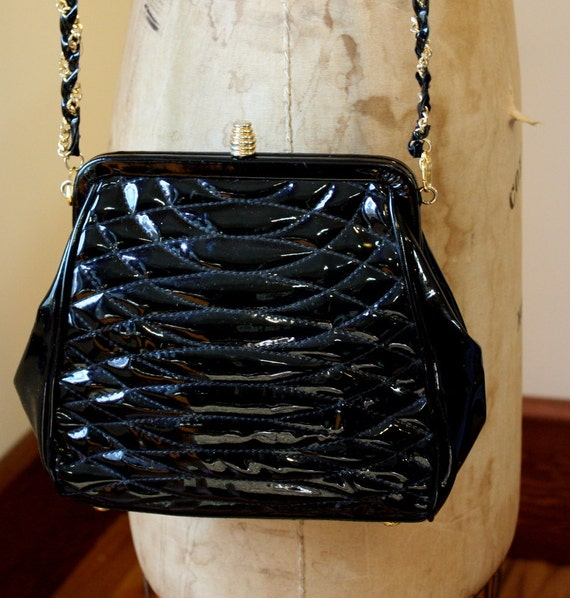 1980's Black Patent Handbag By Giorgio Beverly Hills