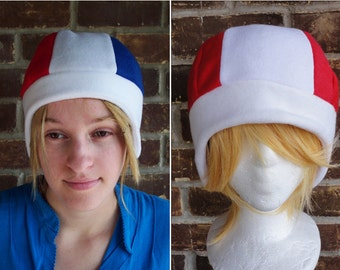 France or Canada Flag Style Hat - Fleece Hat Adult, Teen, Kid - A winter, nerdy, geekery gift!