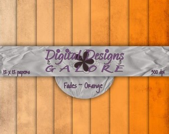 Fades Orange Digital Paper Pack Set of 9 - Commercial and Personal Use - Digital Designs Galore