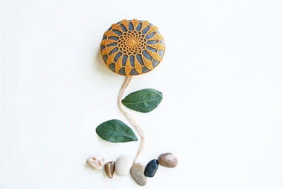 Crochet lace beach stone, summer gold sunflower, dark river rock, wedding decor, shabby chic, housewarming gift