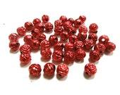 New 25 Rose Flower Metallic Acrylic Red beads 6mm