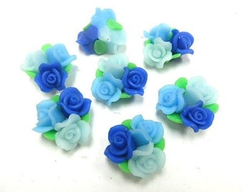 10 Fimo Polymer Clay Blue Flower Fimo Beads Bouquet  25mm